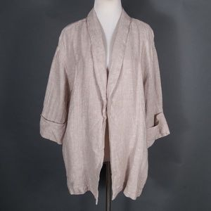NEW Tahari 100% Linen Tan Open Jacket w/ Pockets